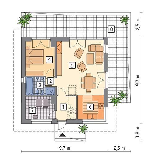 Rzut parteru POW. 71,9 m²