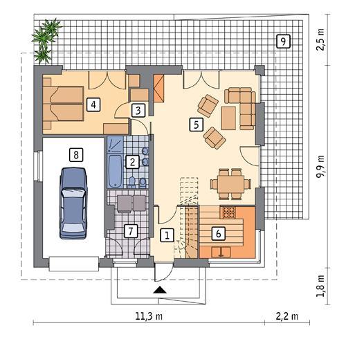 Rzut parteru POW. 87,4 m²