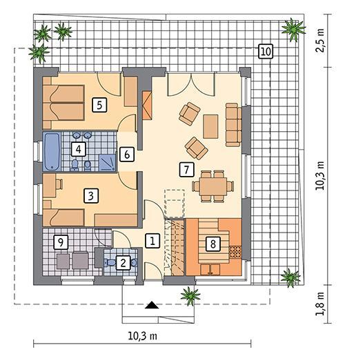 Rzut parteru POW. 82,1 m²