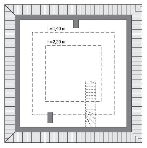 Rzut poddasza: Do indywidualnej adaptacji (34,4 m2 powierzchni użytkowej)