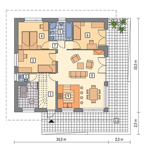 Rzut parteru POW. 86,0 m²
