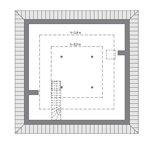 Rzut poddasza: Do indywidualnej adaptacji (36,8 m2 powierzchni użytkowej)