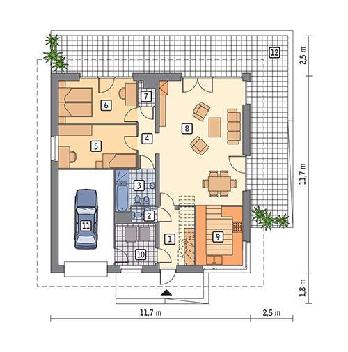 Rzut parteru POW. 109,0 m²
