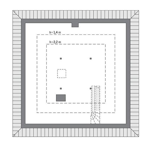 Rzut poddasza: Do indywidualnej adaptacji (52,6 m2 powierzchni użytkowej)