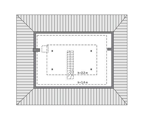 Rzut poddasza: Do indywidualnej adaptacji (44,8 m2 powierzchni użytkowej)