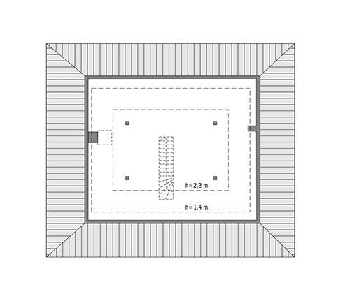 Rzut poddasza: Do indywidualnej adaptacji (53,8 m2 powierzchni użytkowej)