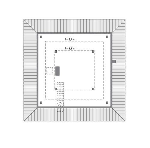 Rzut poddasza: do indywidualnej adaptacji (44,9 m2 powierzchni użytkowej)