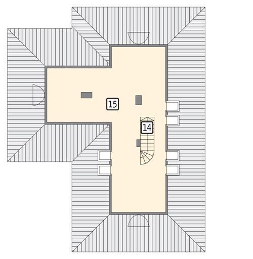 Rzut poddasza: II etap realizacji - do indywidualnej aranżacji (28,1 m2 powierzchni użytkowej)