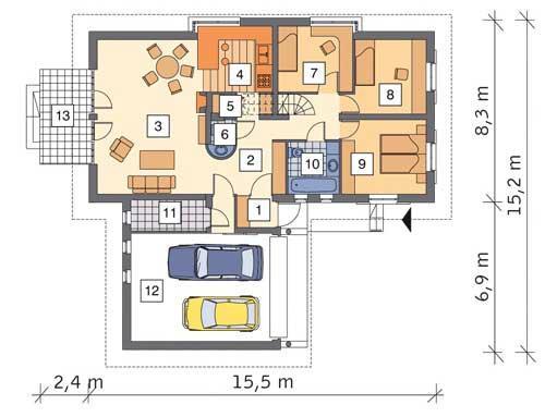 Rzut parteru POW. 146,0 m²