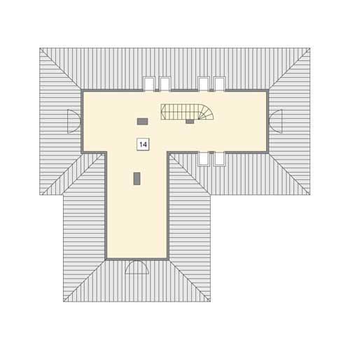 Rzut poddasza POW. 65,1 m²