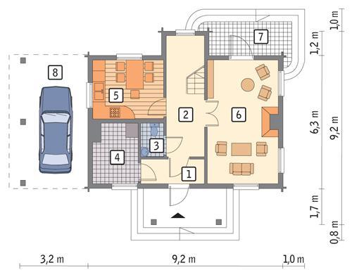 Rzut parteru POW. 49,9 m²
