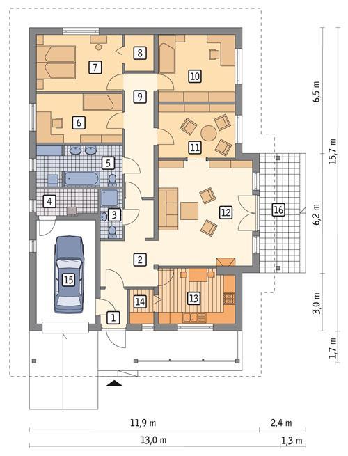 Rzut parteru POW. 146,6 m²