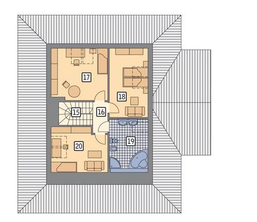 Rzut poddasza POW. 66,6 m²