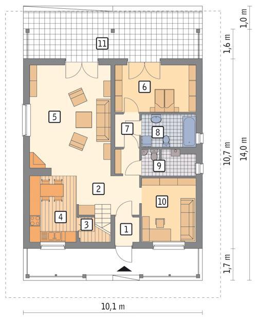 Rzut parteru POW. 85,6 m²