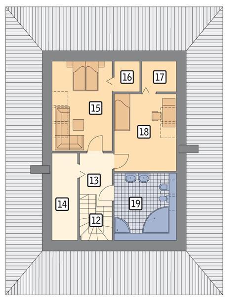 Rzut poddasza POW. 63,0 m²