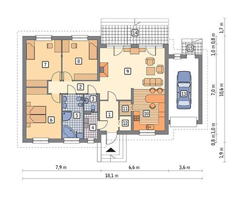 Rzut parteru POW. 132,6 m²