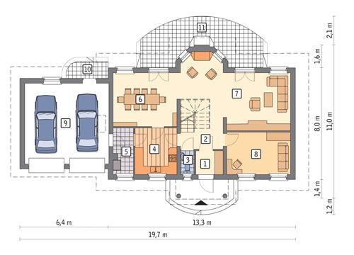 Rzut parteru POW. 124,3 m²