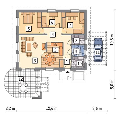 Rzut parteru POW. 103,9 m²