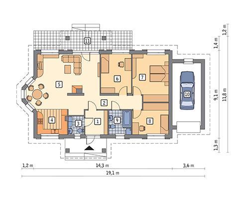 Rzut parteru POW. 125,8 m²