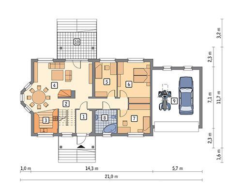 Rzut parteru POW. 157,6 m²