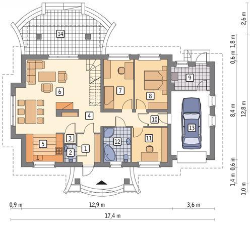 Rzut parteru POW. 125,1 m²