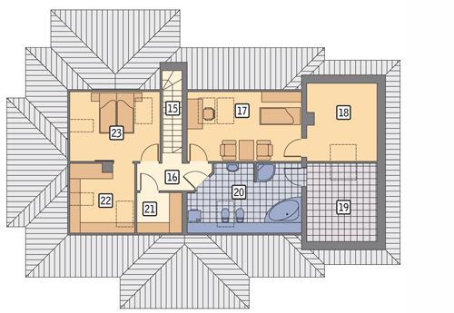 Rzut poddasza POW. 96,0 m²