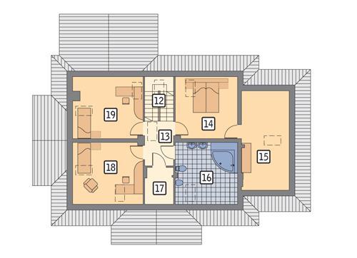 Rzut poddasza POW. 100,1 m²