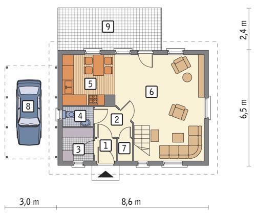 Rzut parteru POW. 43,7 m²