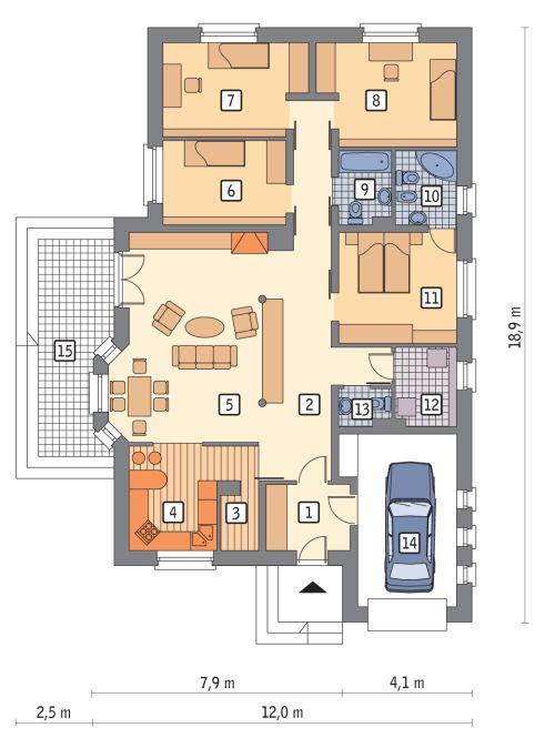 Rzut parteru POW. 150,4 m²