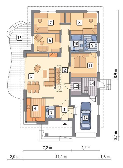 Rzut parteru POW. 147,3 m²