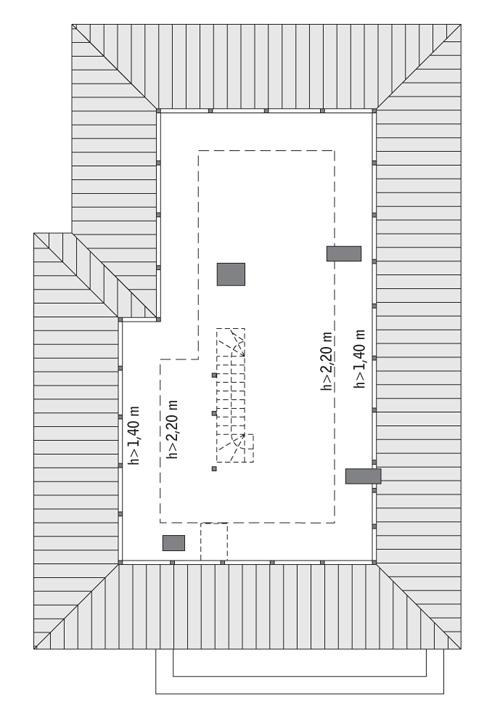 Rzut poddasza: do indywidualnej adaptacji (60,2 m2 powierzchni użytkowej)