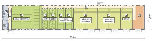 Rzut przyziemia POW. 626,9 m²
