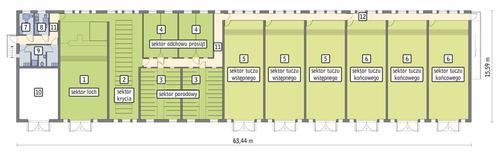 Rzut przyziemia POW. 888,4 m²