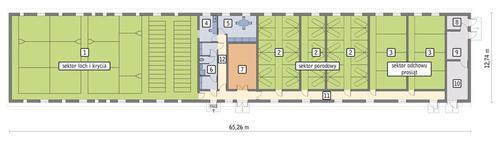 Rzut przyziemia POW. 739,6 m²