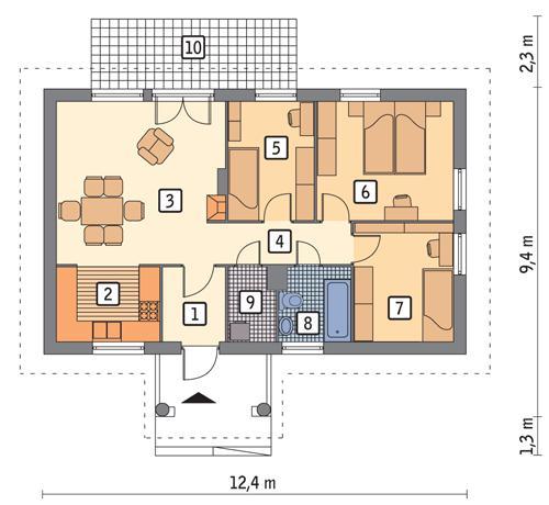 Rzut parteru POW. 75,3 m²