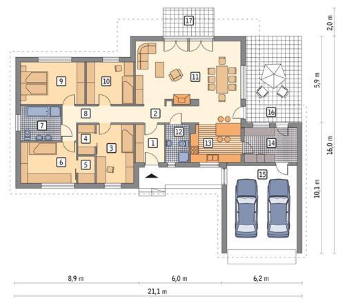 Rzut parteru POW. 177,3 m²