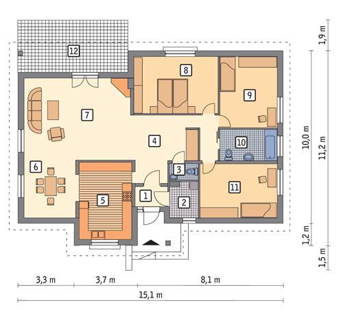 Rzut parteru POW. 114,3 m²