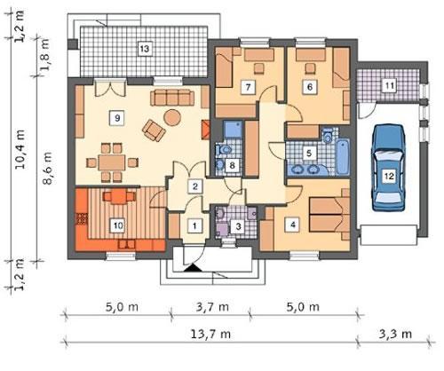 Rzut parteru lustro POW. 123,6 m²