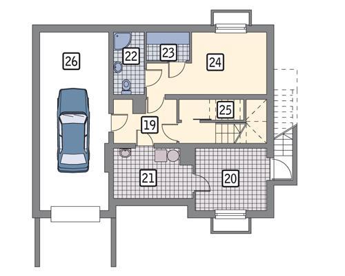 Rzut piwnicy POW. 80,9 m²