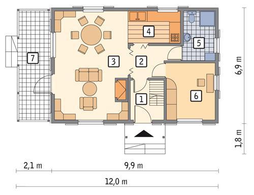 Rzut parteru POW. 56,3 m²