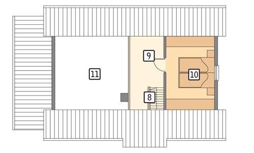 Rzut poddasza POW. 25,0 m²