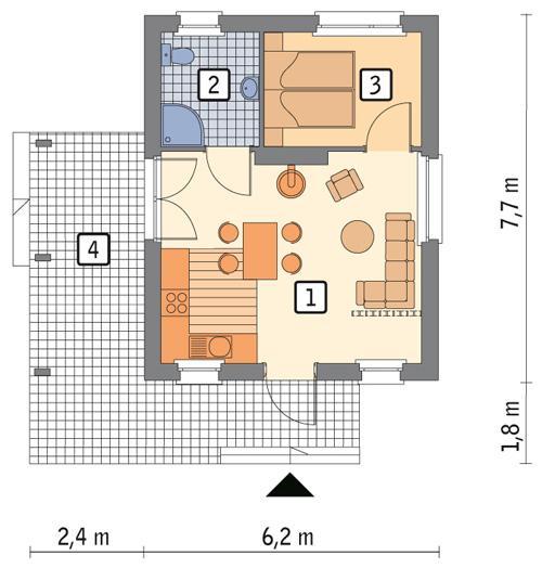 Rzut parteru POW. 36,3 m²