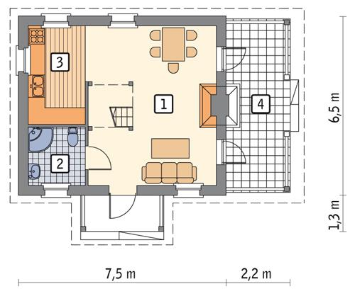 Rzut parteru POW. 37,7 m²