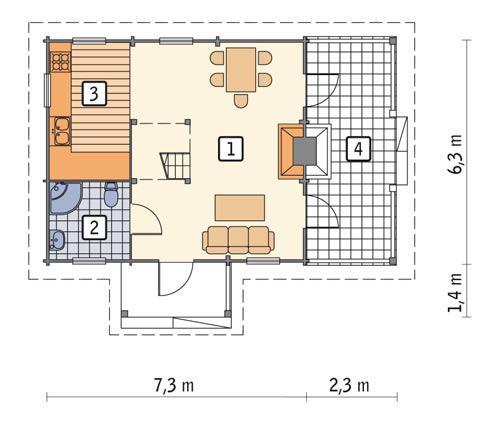 Rzut parteru POW. 40,5 m²