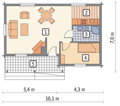 Rzut parteru POW. 45,3 m²