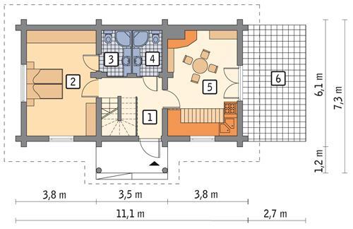 Rzut parteru POW. 46,5 m²