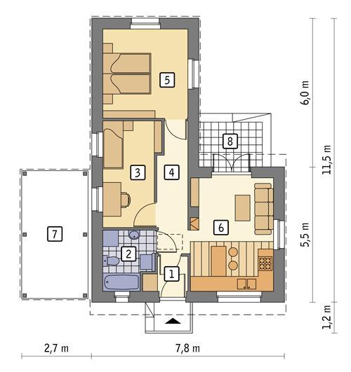 Rzut parteru: II etap realizacji - 48,9 m2 pow. użytkowej