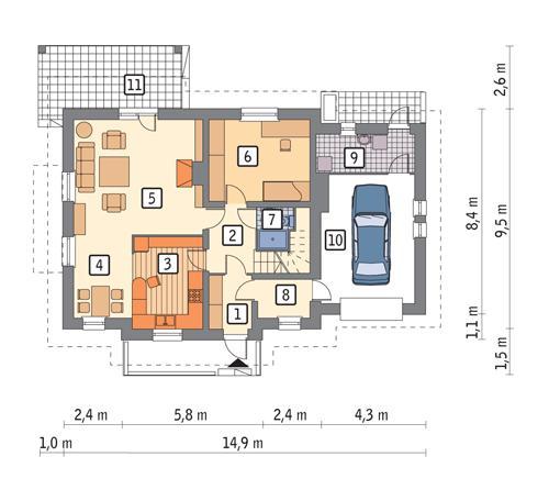 Rzut parteru POW. 100,3 m²