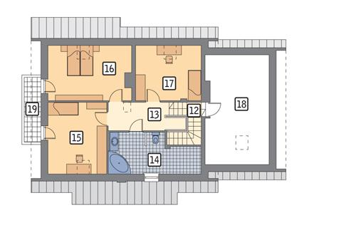 Rzut poddasza POW. 105,3 m²