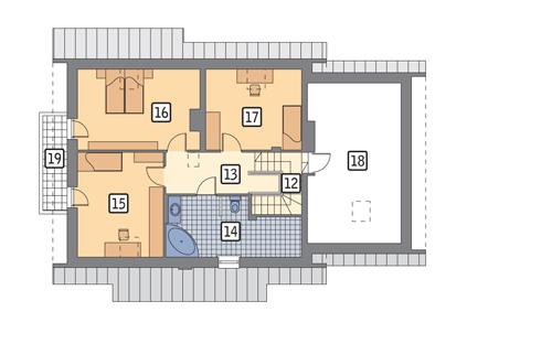 Rzut poddasza POW. 105,9 m²